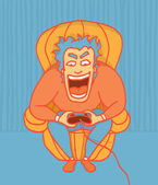 Excited gamer playing at the couch — Stock Vector