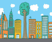 Big tree standing among city buildings — Stock Vector