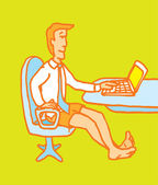 Hombre disfrutando de oficina en casa — Vector de stock