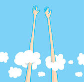 Sky high five above the clouds — Stock Vector