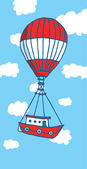 Hot air balloon boat flying to adventure — Stock Vector