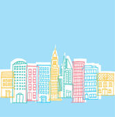 Color buildings in playful city — Stock Vector