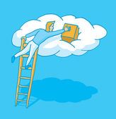 Uploading information to the cloud — Stock Vector