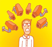 Man surrounded by surveillance cameras — Vector de stock