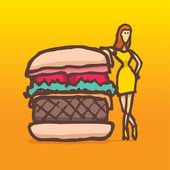 Woman on a diet posing next to a burger — Stock Vector