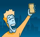 Happy user holding his new phone — Stock Vector