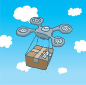 Drone copter flight delivering a box  — Stock Vector