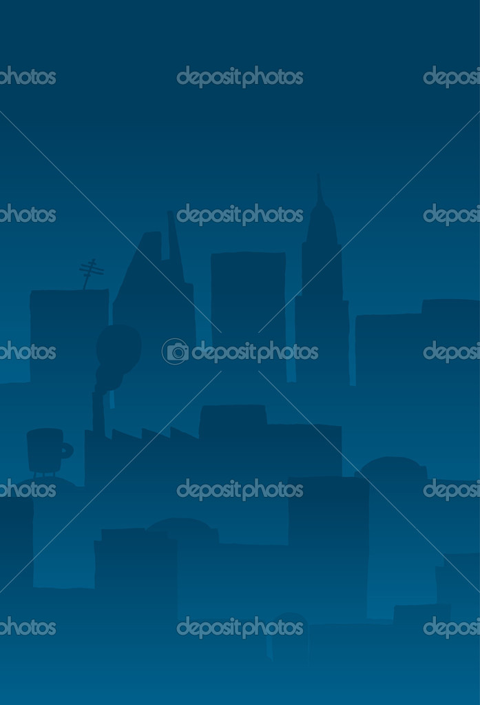 Cartoon City Skyline Night Cartoon Background Illustration of a City Skyline Buildings at Night