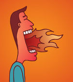 Fire burning on man mouth — Stock Vector