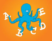 Multitasking octopus holding different letters — Stock Vector
