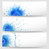 Set of three abstract white-blue banners — Stock Vector