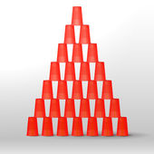 Red cups pyramid — Stock Vector