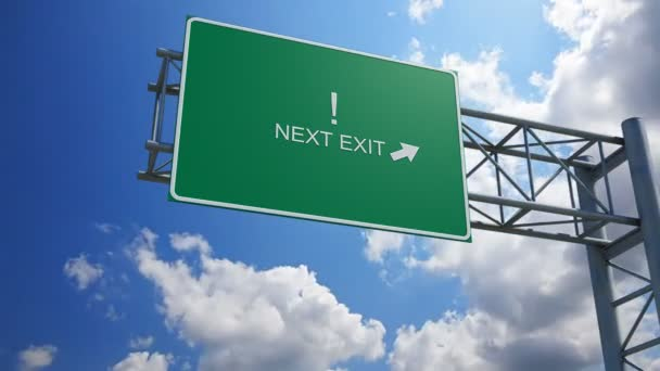 Exclamation Mark - 3D Highway Exit Sign — Vidéo