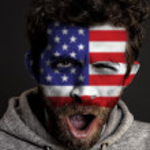 USA Flag on Face — Stock Photo