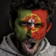 Portugal Flag on Face - Stock Photo