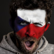 Czech Republic Flag on Face - Stock Photo