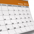 Foto de Stock  : Folded October 2013 Desktop Calendar