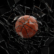 Basket Ball Breaking Glass - Stock Photo