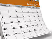 Folded October 2013 Desktop Calendar — Stock Photo