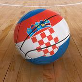 篮子球与克罗地亚国旗 — 图库照片