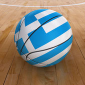 Basket Ball with Greek Flag — Stock Photo