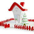 Christmas House with Clipping Path - Stock Photo