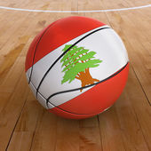 Basket Ball with Lebanese Flag — Stock Photo