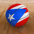 Basket Ball with Puerto Rican Flag — Stock Photo