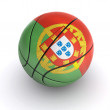 Basket Ball with Portuguese Flag on White - Stock Photo