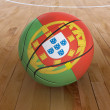 Basket Ball with Portuguese Flag - Stock Photo