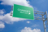 Changes - 3D Highway Exit Sign — Stock Photo