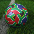 Soccer Ball with South African Flag — Stock Photo