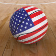 Basket Ball with United States Flag — Stock Photo