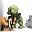 Royalty-Free Stock Photo: Tinman is Choosing A Picture Frame For Broken Wall