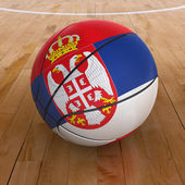 Basket Ball with Serbian Flag — Stock Photo