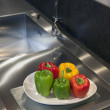 Colorful Peppers In A Modern Kitchen — 图库照片