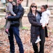 Angelina Jolie And Brad Pitt With Their Children Visit A Park In Budapest, Hungary — Stock Photo #22500175
