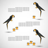 Origami background for text (options or steps), birdies — Vector de stock