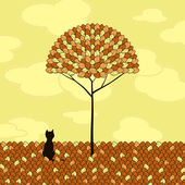 Lonely cat and tree — Stock Vector