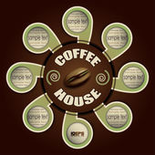 Coffee house with labels for your text — Stockvector