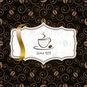 Coffee with ribbon and vintage pattern — Vector de stock