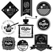 Coffee set labels — Stock Vector