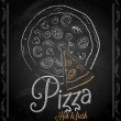 Chalkboard - frame pizza menu  — Stock Vector