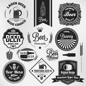 Beer set vintage lager labels — Stock Vector