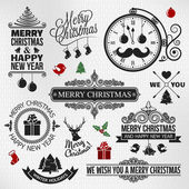 Christmas happy new year vintage orntae label set — Stock Vector