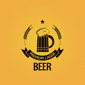 Beer hops bottle design vintage mug background — Stock Vector