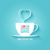 Valentines day coffee cup design background — Vector de stock