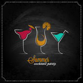 Cocktail summer party chalk design menu background — Cтоковый вектор