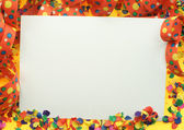 Large Card with party confetti and decoration. — Stock Photo