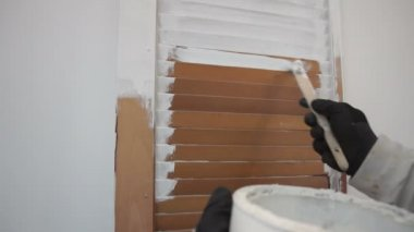 Painting an old door white Home improvement — Vídeo stock